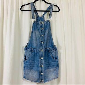 Cotton On | 90s Light Wash Denim Overall Dress |